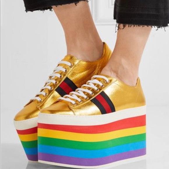 bf4159b87b3 Gucci Peggy Platform Sneaker Metallic Gold Rainbow